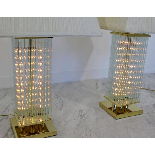 Gaetano Sciolari Mid-Century Modern Sciolari Brass & Glass Rod Table Lamps, 1970s Italian - a Pair For Sale - Image 4 of 6