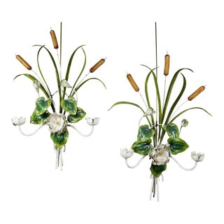 Pair of Italian Painted Tole Wall Sconces For Sale