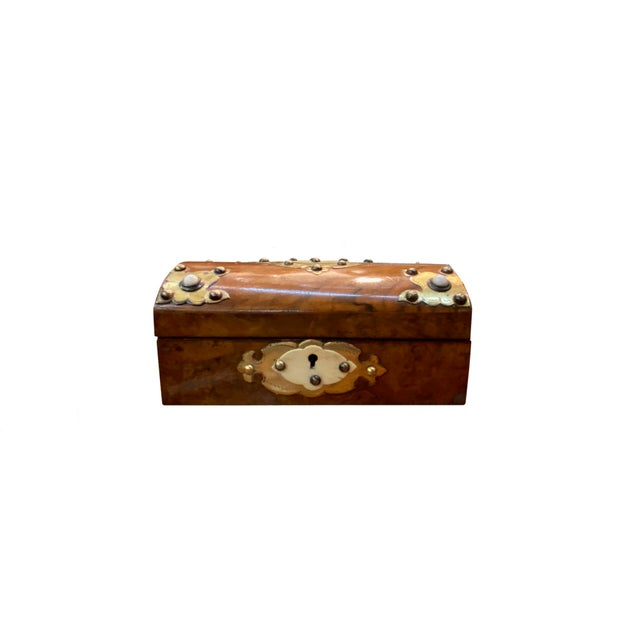Metal 19th Century Dome Top Box With Ivory and Brass For Sale - Image 7 of 7