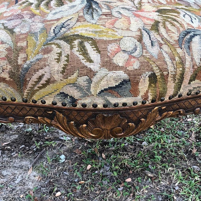 19th Century French Louis XV Tapestry Armchair For Sale - Image 9 of 13