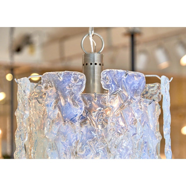 """""""Ghiacciolo"""" Murano Glass Iridescent Chandelier For Sale - Image 4 of 11"""