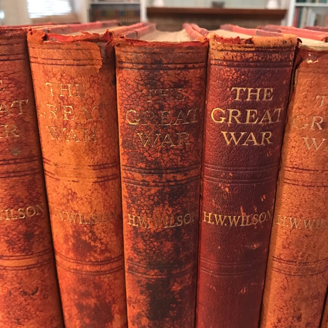 """Antique Red Leather """"The Great War"""" Books - Set of 6 For Sale - Image 4 of 11"""