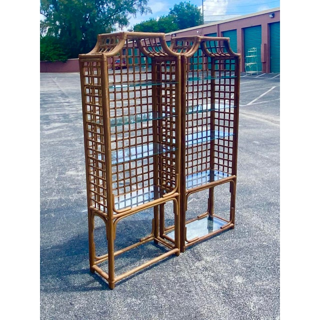 Vintage Hollywood Regency Bamboo Pagoda Etagere - a Pair For Sale - Image 4 of 8