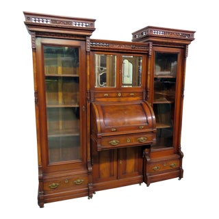 Antique Early 20th Century Victorian 3 Piece Cylinder Desk For Sale