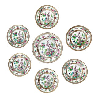 "Tea Sandwich Hand Painted Porcelain ""Indian Tree"" Royal Doulton Plates Circa 1930 - Set of 6 For Sale"
