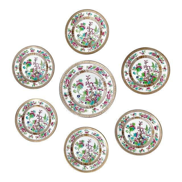 "Tea Sandwich Hand Painted Porcelain ""Indian Tree"" Royal Doulton Plates Circa 1930 - Set of 6 For Sale"