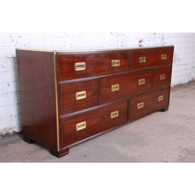 Campaign Baker Furniture Brass Campaign Style Long Dresser For Sale - Image 3 of 13