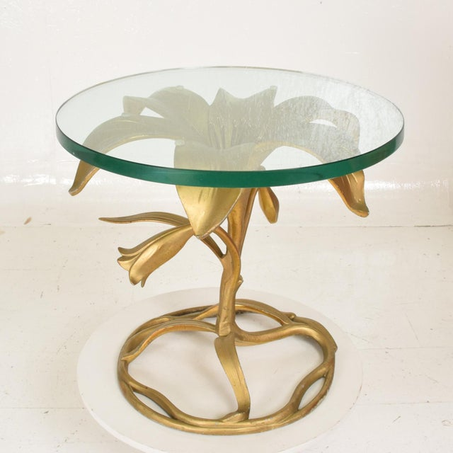 Arthur Court Hollywood Regency Side Aluminum Table by Arthur Court, Gilded Lily For Sale - Image 4 of 10