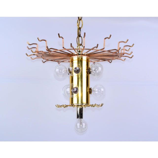 Mid-Century Modern Lucite & Brass Chandelier - Image 8 of 10