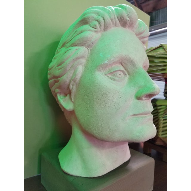 """A handcrafted sculpture in terracotta by California artist, Herman Roderick Volz. Original wood base measures 3.25""""H...."""
