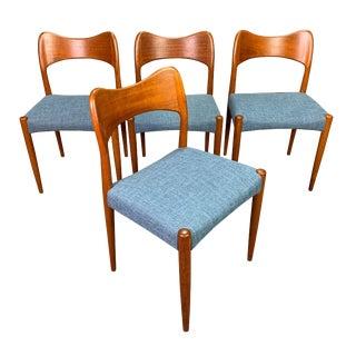 Mid Century Modern Arne Hovmand Olsen for Mogens Kold Danish Teak Dining Chairs- Set of 4 For Sale