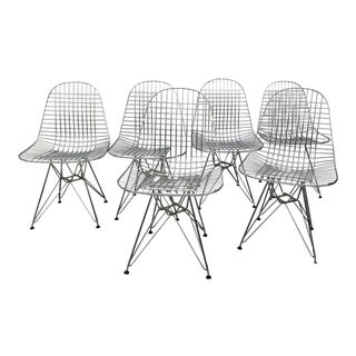Late 20th Century Charles and Ray Eames Wire Chairs for Herman Miller - Set of 6 For Sale