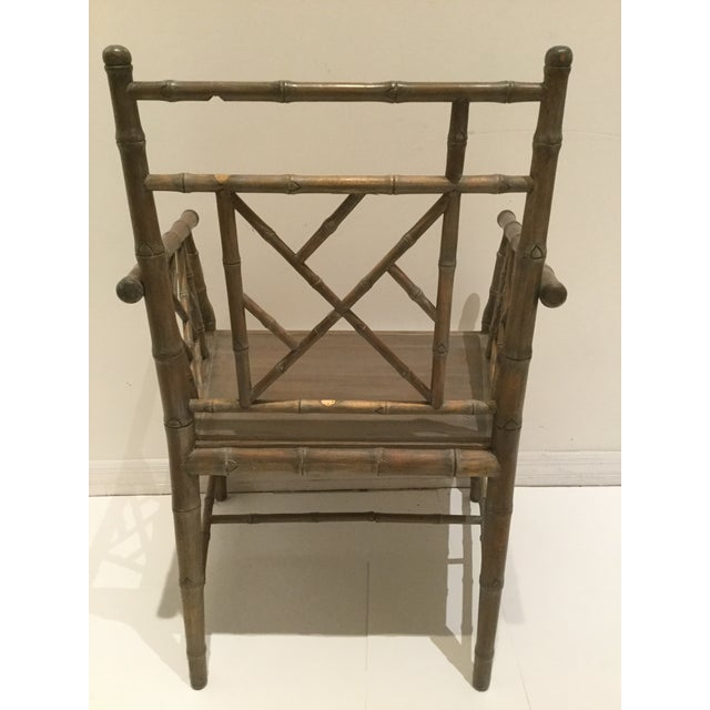 Olive 1970s Vintage Faux Bamboo Chippendale Side Chair For Sale - Image 8 of 13