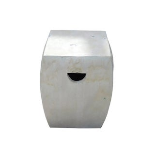 Chinese Off White Square Clay Ceramic Garden Stool For Sale