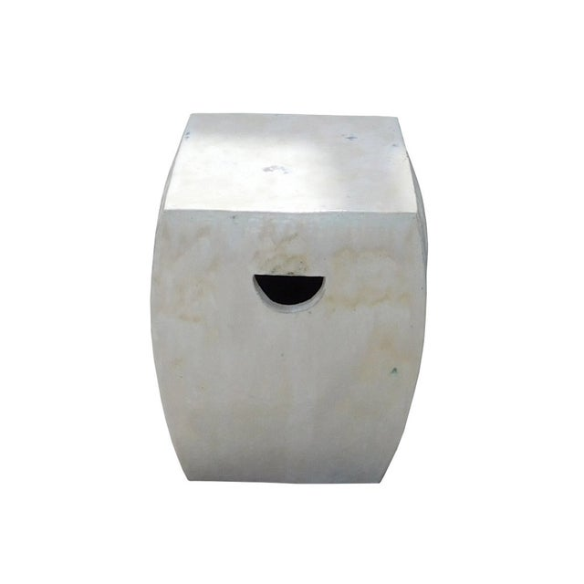 Chinese Off White Square Clay Ceramic Garden Stool - Image 1 of 7