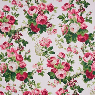 Schumacher X Vogue Living Nancy Wallpaper in Rose (11 Yards) For Sale
