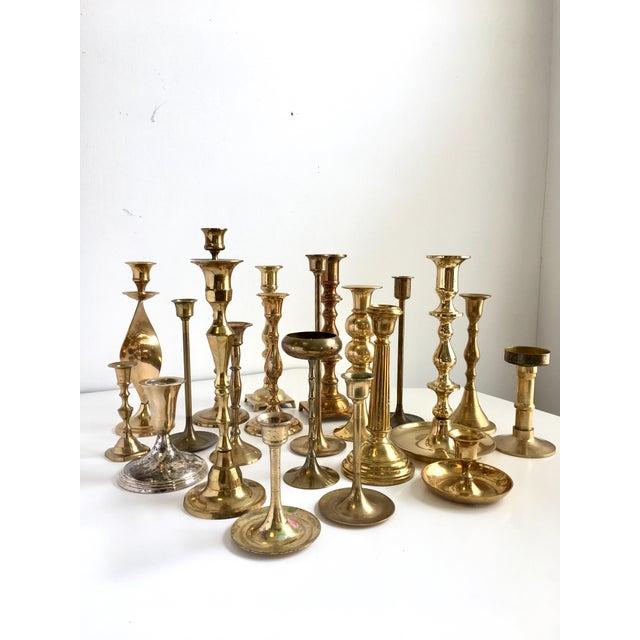 Vintage Brass Candlesticks - Lot of 21 For Sale - Image 10 of 10