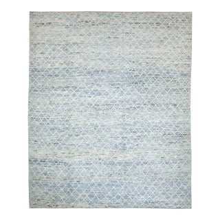 Afghan Moroccan Style Rug With Ivory Diagonal Tile Details on Blue Field For Sale