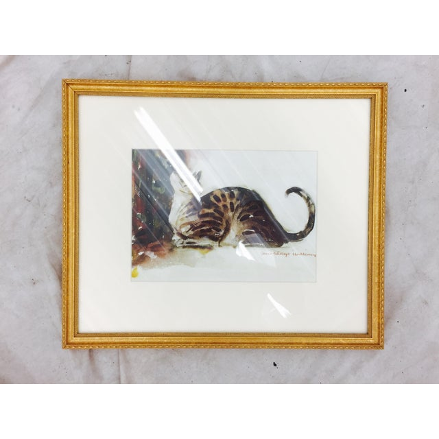 Tabby Cat Watercolor Print in Gold Frame - Image 2 of 7