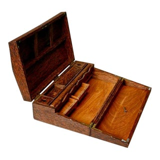 Antique Anglo-Indian Hand Carved Fold Out Writing Desk Box