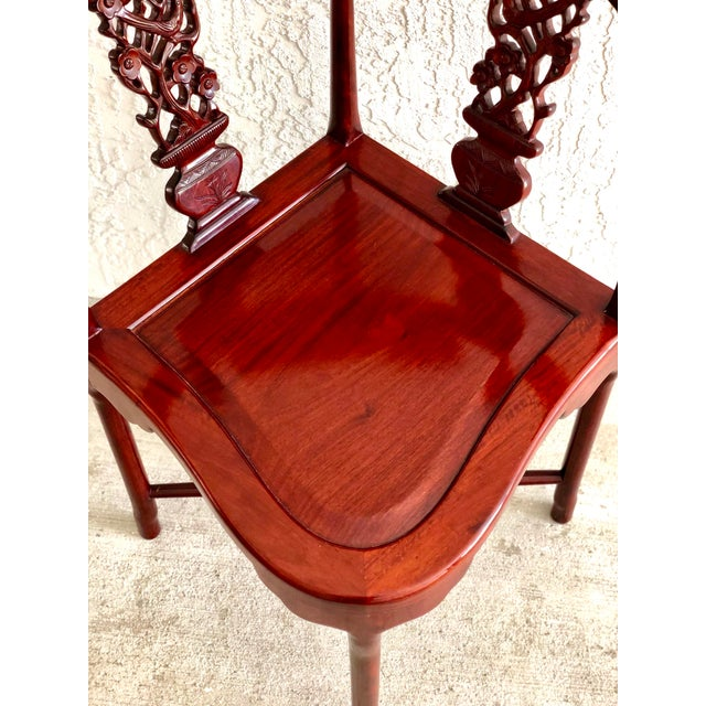 Hand Carved Rosewood Oriental Corner Chair For Sale In Miami - Image 6 of 13
