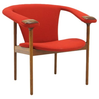 Single Arm Lounge Chair by Adrian Pearsall, Expertly Restored, Red Knoll Fabric For Sale
