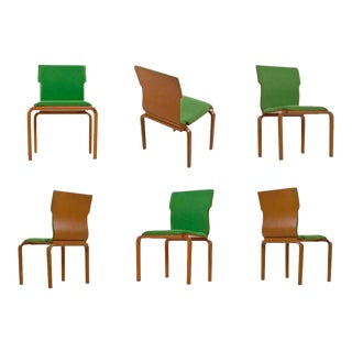 Thonet Style Mid-Century Modern Maple Bent Ply Green Wool Tweed Dining Chair Set For Sale