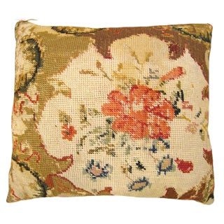 "Vintage Decorative English Needlepoint Pillow, With Terracotta Linen Backing, Size 22"" X 20"" (1'10"" X 1'8"") For Sale"