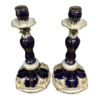 Meissen Porcelain Cobalt Blue Candlesticks With Gold Embellishments - a Pair For Sale