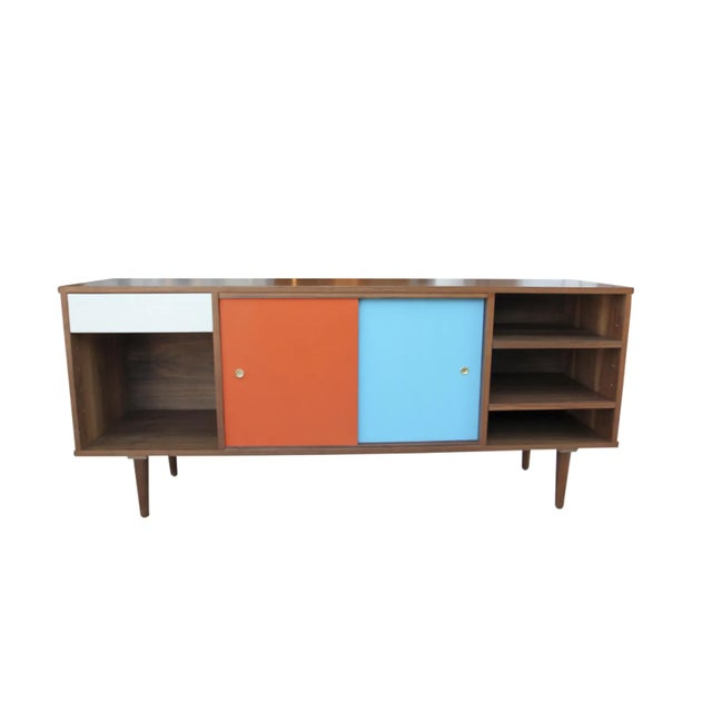 Mid-Century Modern Walnut Credenza with Blue and Orange Accents For Sale - Image 9 of 9