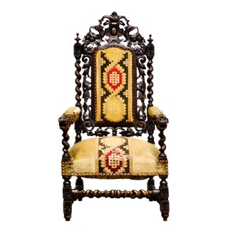 Antique French Renaissance Carved Arm Chair For Sale