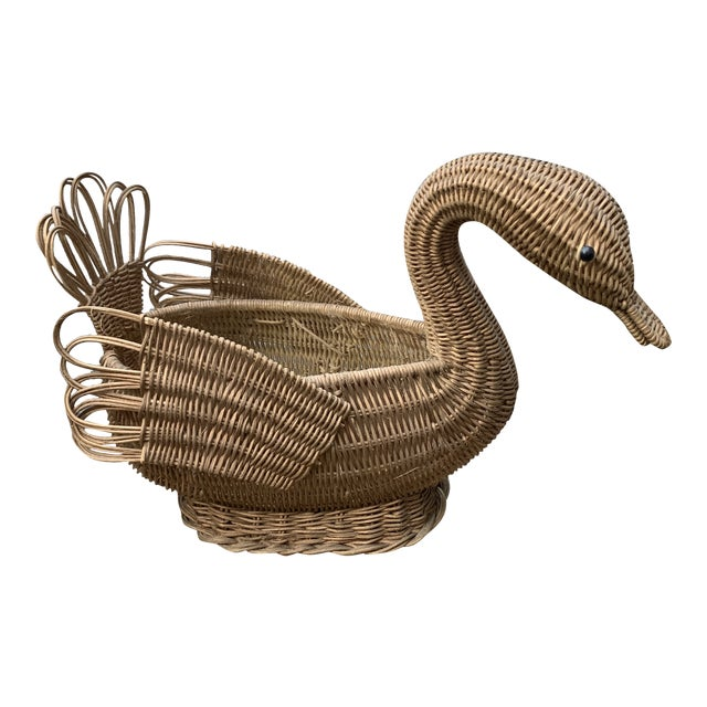 Vintage Rattan Gold-Toned Woven Swan For Sale
