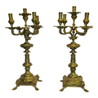 Bronze Gothic Revival Candelabras - a Pair For Sale