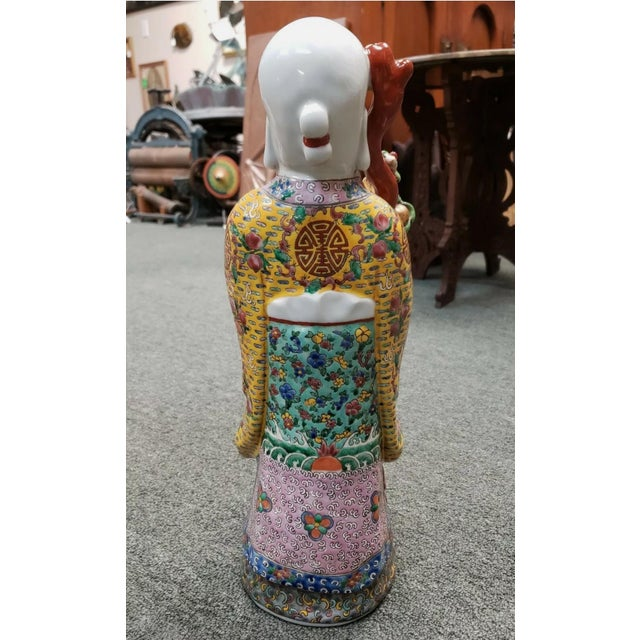 Circa 1920 Chinese Famille Rose Porcelain Shou Lao Statue (Early Republic) For Sale - Image 4 of 7