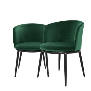 Mid-Century Green Dining Chairs 2 | Eichholtz Filmore For Sale