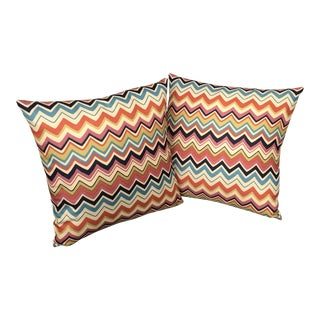 Modern Hand Made Geometric Chevron Zig Zag Pillows - a Pair