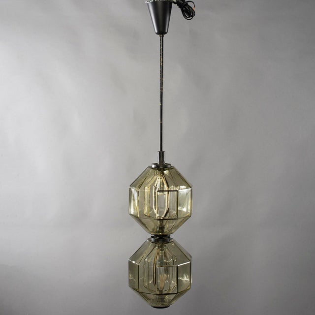 Contemporary Vistosi Double Vessel Amber Glass Lantern For Sale - Image 3 of 10