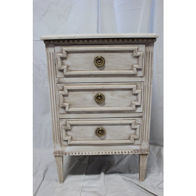 Tan 20th Century Swedish Gustavian 3-Drawer Nightstands - a Pair For Sale - Image 8 of 9