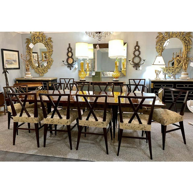 A Tommi Parzinger Originals Dining Table Fully Refinished With Two Leaves For Sale - Image 11 of 13