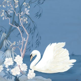 """""""Swan and Only"""" Contemporary Blue and White Chinoiserie Painting by Allison Cosmos For Sale"""