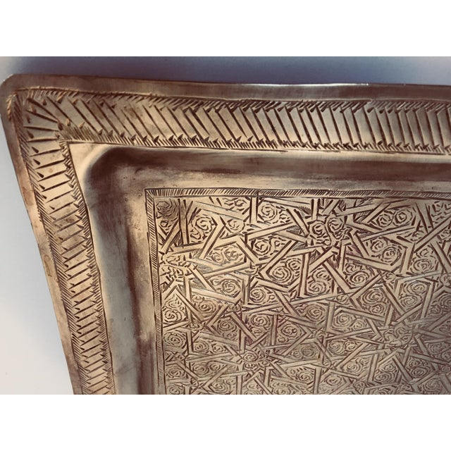 Brass Spanish Moorish Rectangular Brass Tray For Sale - Image 7 of 12