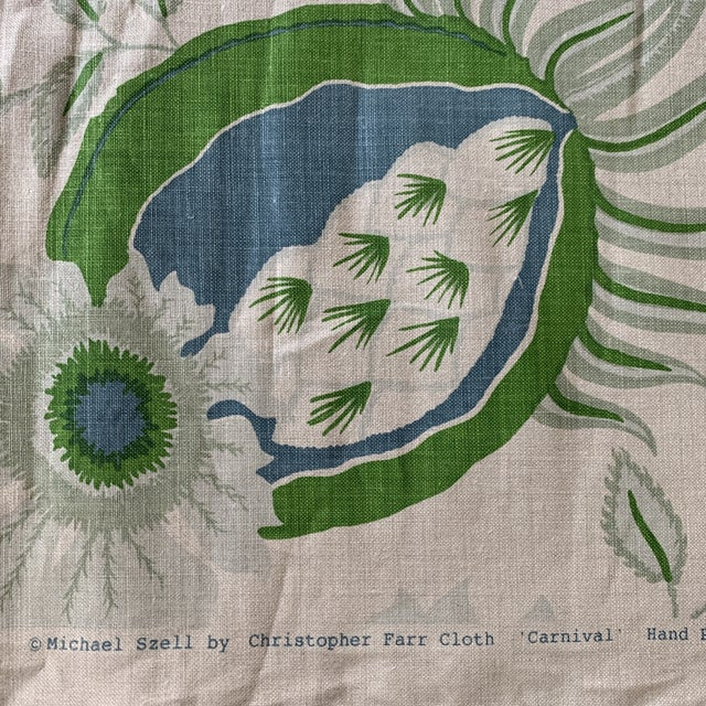 2010s Christopher Farr Carnival Linen Fabric in Green and Blue -2 1/2 Yards For Sale - Image 5 of 10