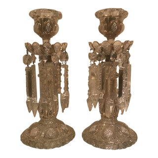 Baccarat Crystal Hand-Painted Enamel and Gold Candlesticks - A Pair For Sale