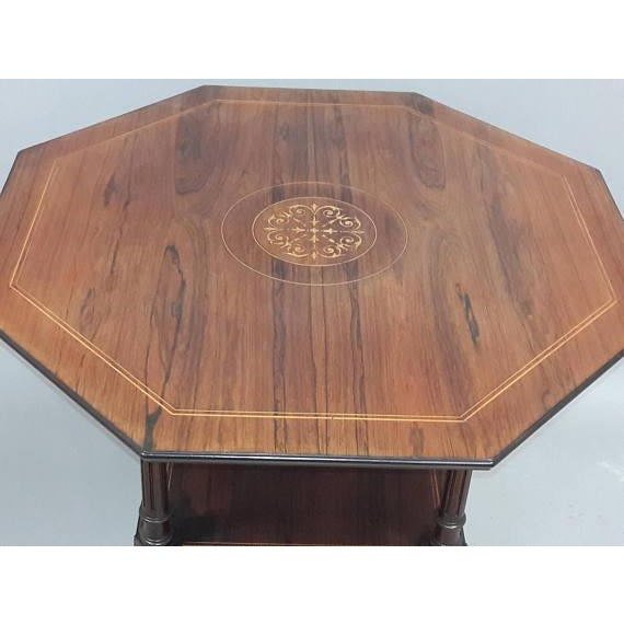 English Inlaid Rosewood Table A - Image 5 of 9