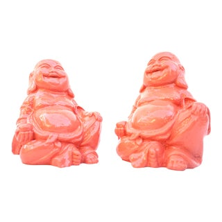 Pair of Coral Happy Buddha Figurines/Bookends || Living Coral Color Pop Ceramic Prosperity Buddhas / Lucky Hotei For Sale