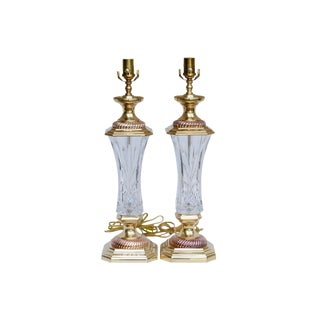 Signed Waterford Crystal Table Lamps, a Pair For Sale