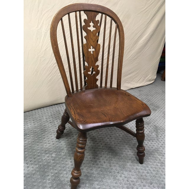 Rustic 1970s Conant Ball Windsor Plank Oak Dining Chairs - Set of 6 For Sale - Image 3 of 5