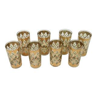 1950s Moorish Culver Highball Glasses With 22-Karat Gold Valencia Design - Set of 8 For Sale