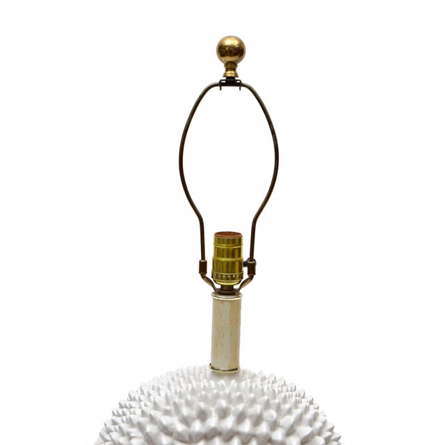White Hollywood Regency White Porcelain Cactus Table Lamp With Brass Base For Sale - Image 8 of 10