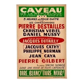 1960's French Caveau De La Republique Musical Poster For Sale